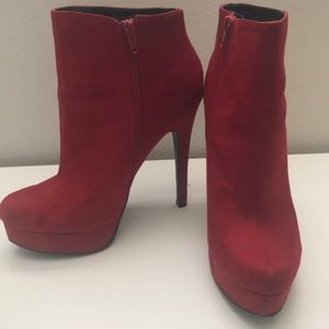 Chinese Laundry Red Suede Heel Booties Size 8